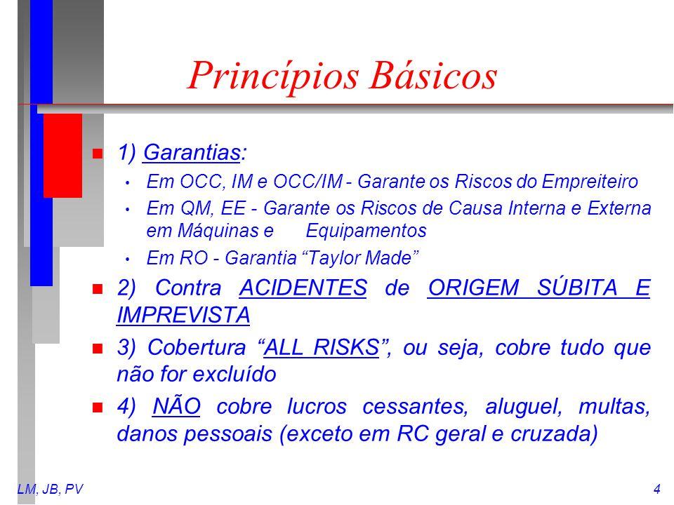 LM, JB, PV4 Princípios Básicos n 1) Garantias: Em OCC, IM e OCC/IM - Garante os Riscos do Empreiteiro Em QM, EE - Garante os Riscos de Causa Interna e