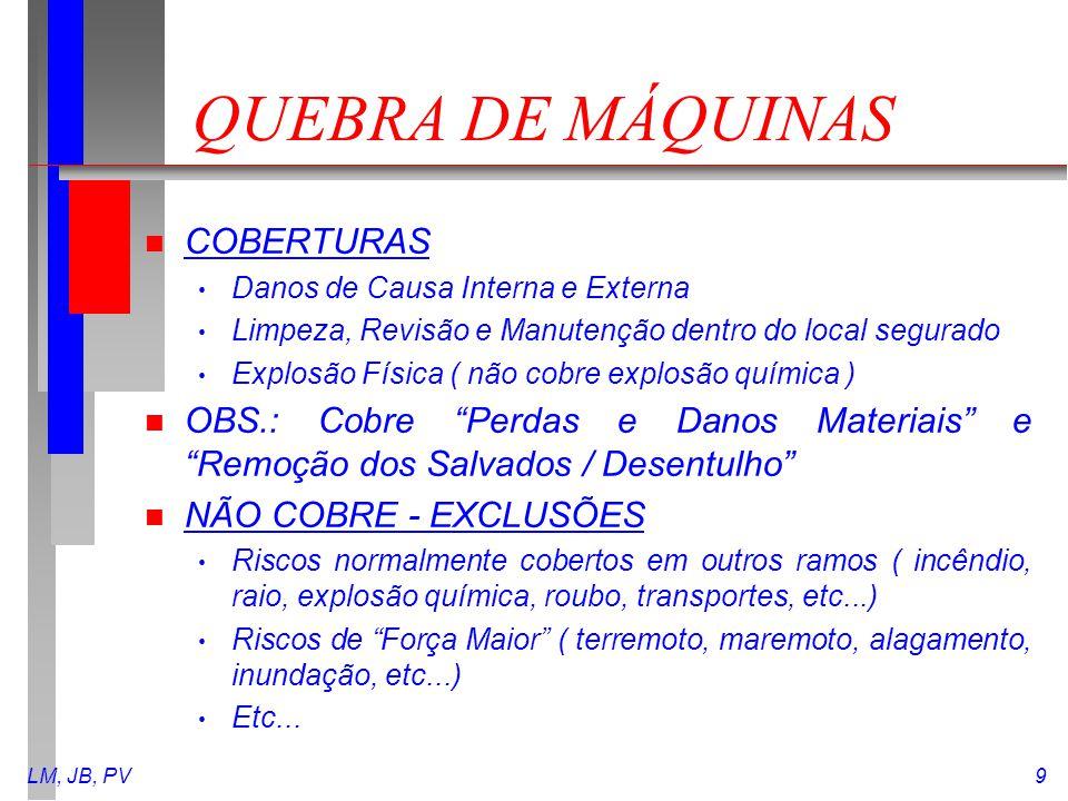 LM, JB, PV9 QUEBRA DE MÁQUINAS n COBERTURAS Danos de Causa Interna e Externa Limpeza, Revisão e Manutenção dentro do local segurado Explosão Física (