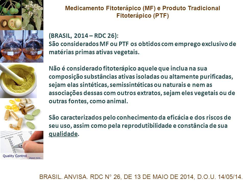 (BRASIL, 2014 – RDC 26): São considerados MF ou PTF os obtidos com emprego exclusivo de matérias primas ativas vegetais. Não é considerado fitoterápic
