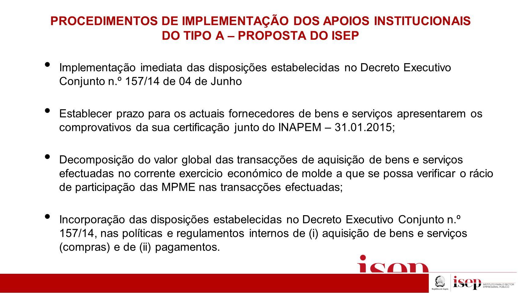 PROCEDIMENTOS DE IMPLEMENTAÇÃO DOS APOIOS INSTITUCIONAIS DO TIPO A – PROPOSTA DO ISEP Implementação imediata das disposições estabelecidas no Decreto