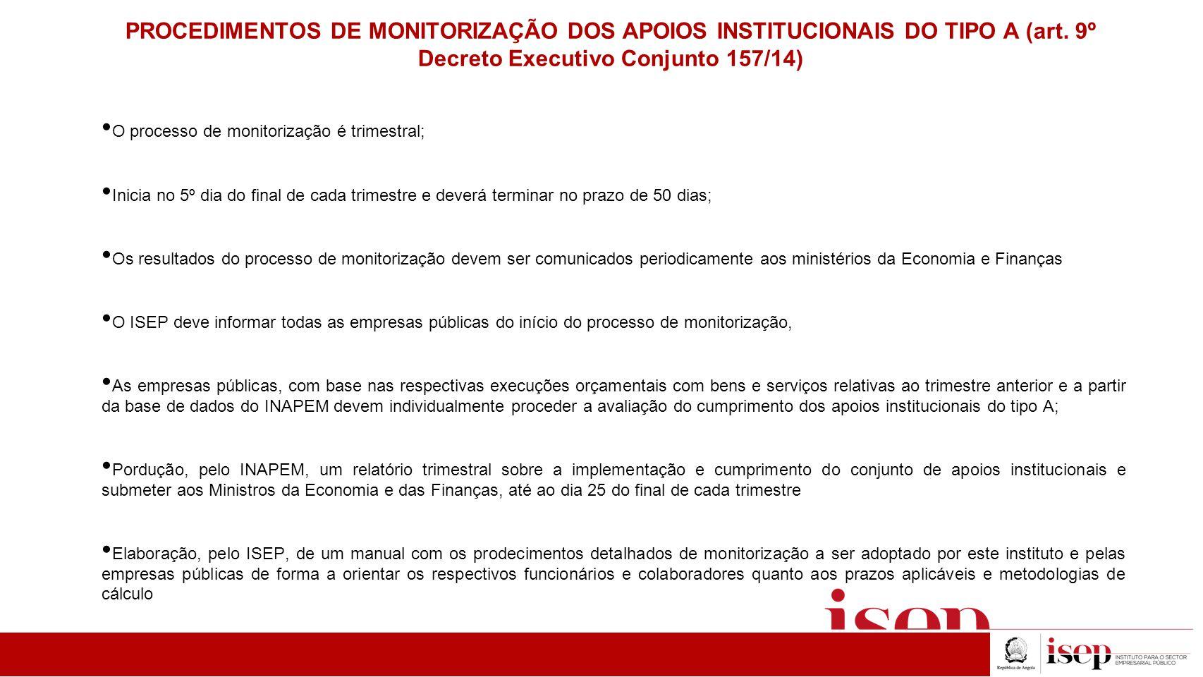 PROCEDIMENTOS DE MONITORIZAÇÃO DOS APOIOS INSTITUCIONAIS DO TIPO A (art. 9º Decreto Executivo Conjunto 157/14) O processo de monitorização é trimestra
