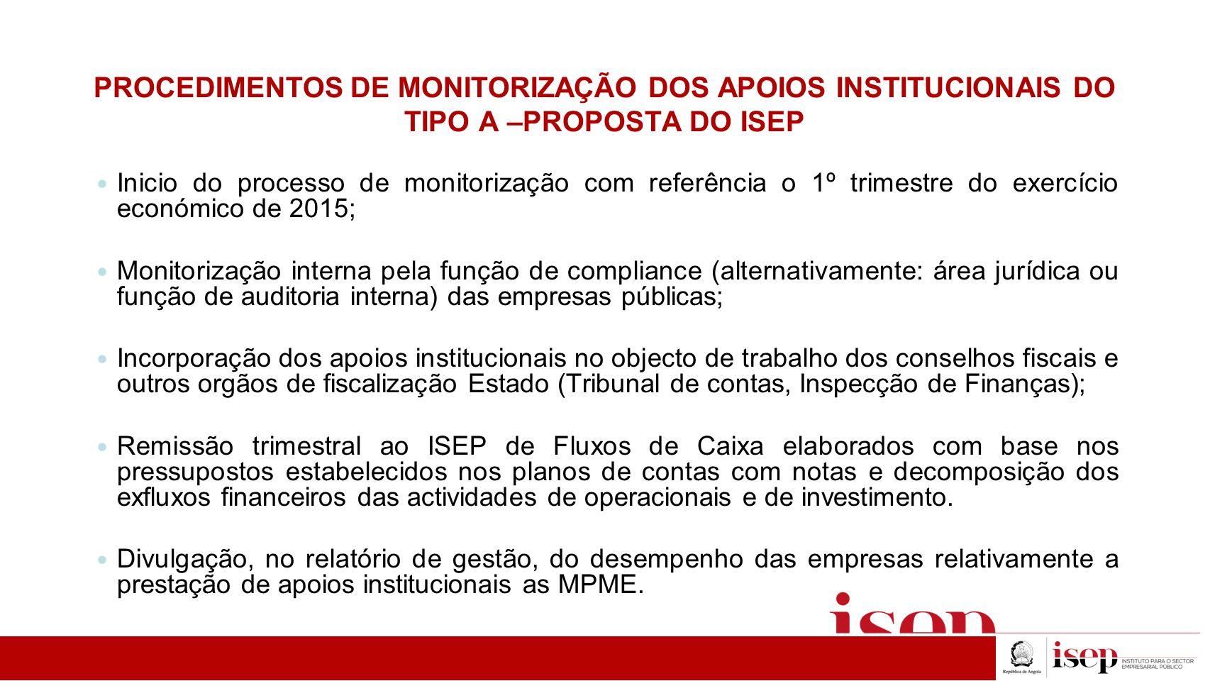 PROCEDIMENTOS DE MONITORIZAÇÃO DOS APOIOS INSTITUCIONAIS DO TIPO A –PROPOSTA DO ISEP Inicio do processo de monitorização com referência o 1º trimestre