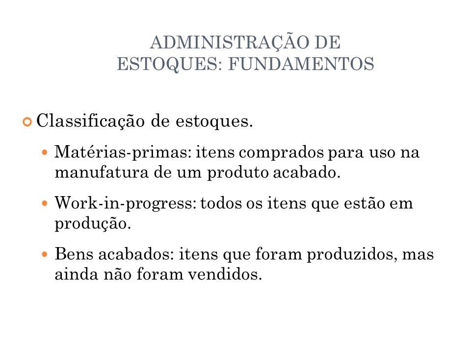 ADMINISTRAÇÃO DE ESTOQUES: FUNDAMENTOS Classificação de estoques.