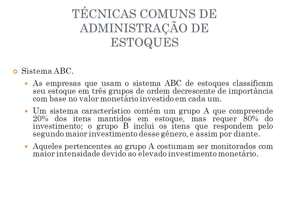 TÉCNICAS COMUNS DE ADMINISTRAÇÃO DE ESTOQUES Sistema ABC.