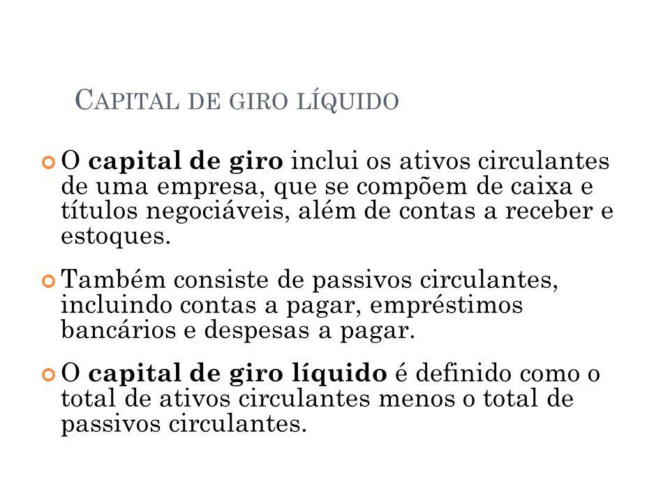 C APITAL DE GIRO LÍQUIDO O capital de giro inclui os ativos circulantes de uma empresa, que se compõem de caixa e títulos negociáveis, além de contas a receber e estoques.