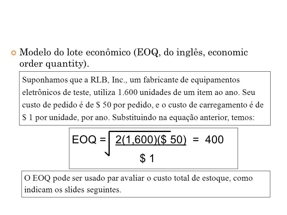 Modelo do lote econômico (EOQ, do inglês, economic order quantity).