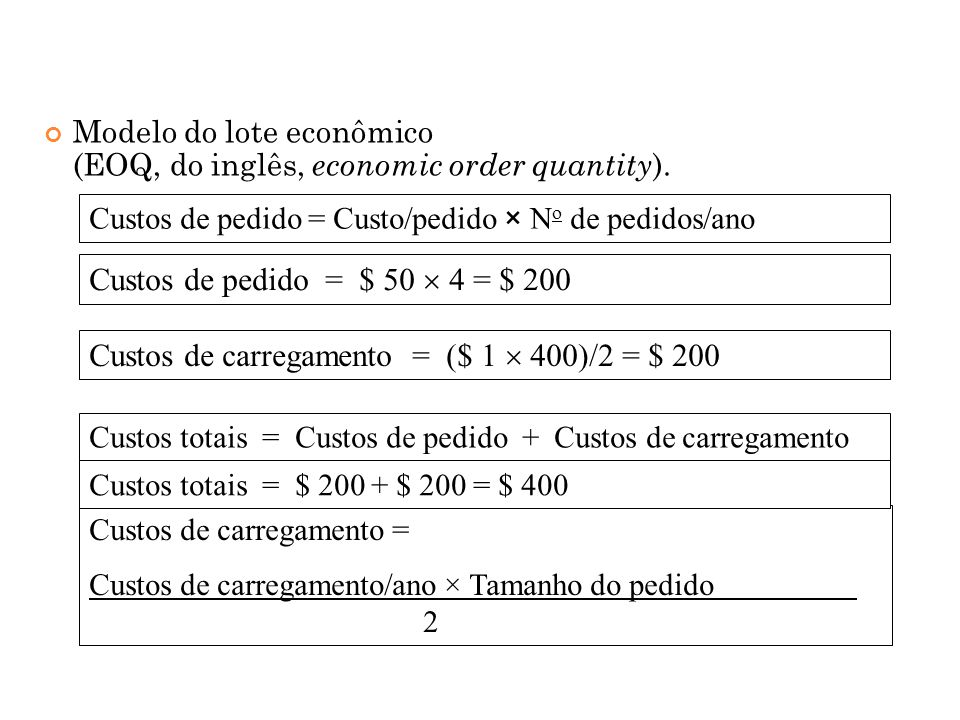 Modelo do lote econômico (EOQ, do inglês, economic order quantity ).