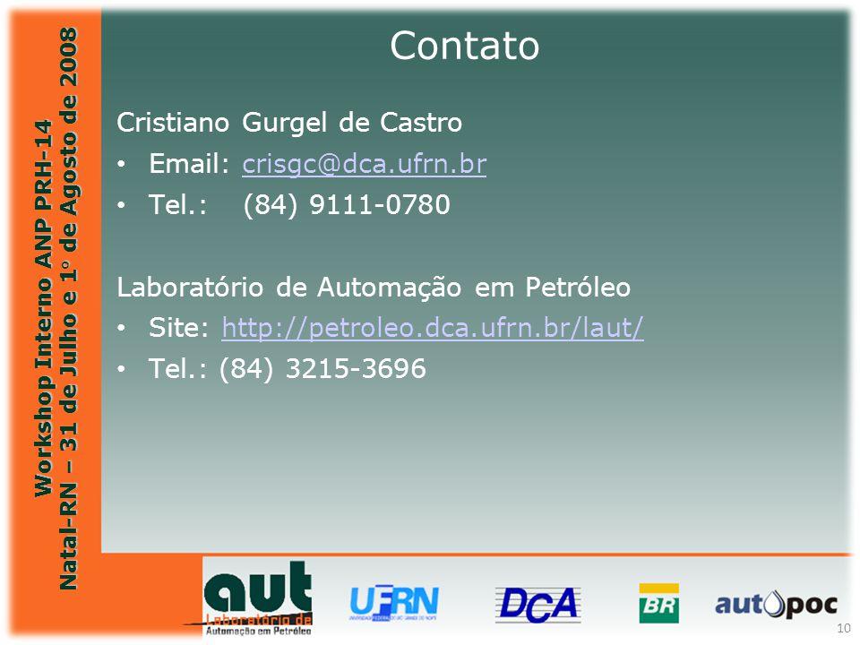 Workshop Interno ANP PRH-14 Natal-RN – 31 de Julho e 1° de Agosto de 2008 10 Cristiano Gurgel de Castro Email: crisgc@dca.ufrn.brcrisgc@dca.ufrn.br Te