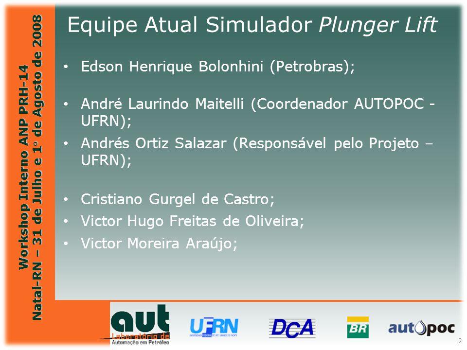 Workshop Interno ANP PRH-14 Natal-RN – 31 de Julho e 1° de Agosto de 2008 2 Equipe Atual Simulador Plunger Lift Edson Henrique Bolonhini (Petrobras) 