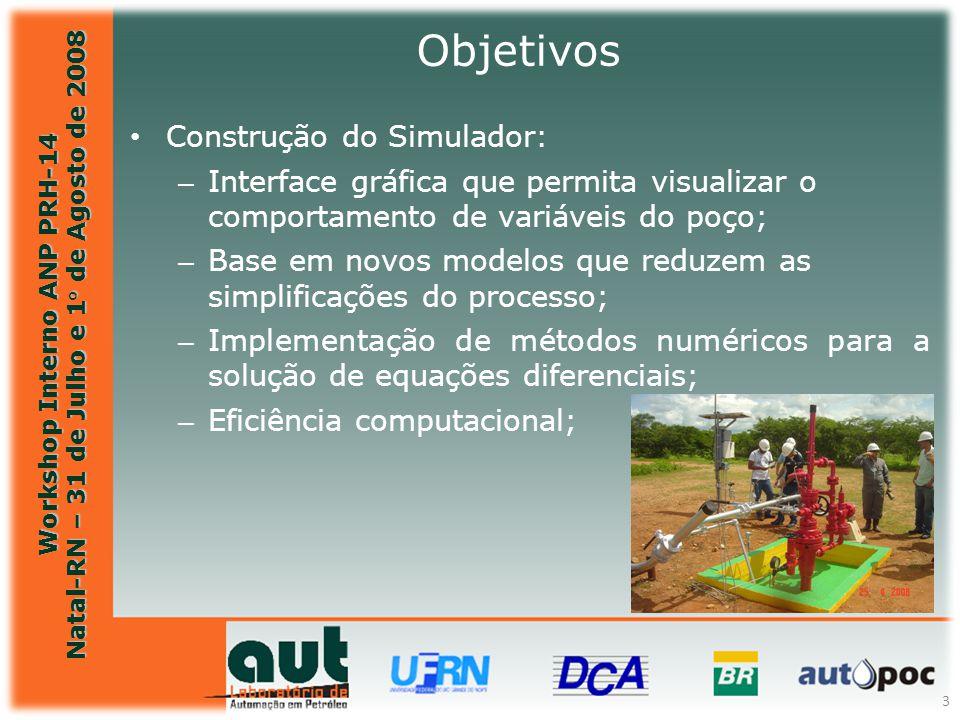 Workshop Interno ANP PRH-14 Natal-RN – 31 de Julho e 1° de Agosto de 2008 3 Objetivos Construção do Simulador: – Interface gráfica que permita visuali