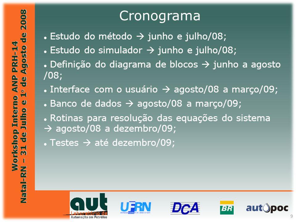 Workshop Interno ANP PRH-14 Natal-RN – 31 de Julho e 1° de Agosto de 2008 9 Estudo do método  junho e julho/08; Estudo do simulador  junho e julho/0