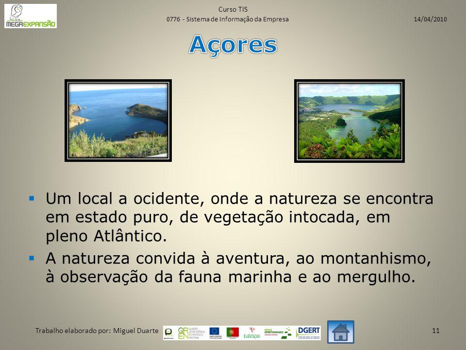  Um local a ocidente, onde a natureza se encontra em estado puro, de vegetação intocada, em pleno Atlântico.