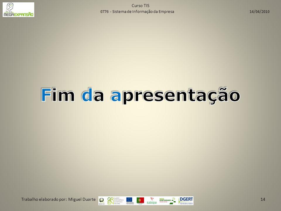 Curso TIS Trabalho elaborado por: Miguel Duarte14 0776 - Sistema de Informação da Empresa 14/04/2010