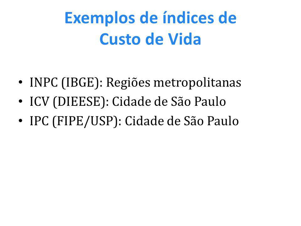 Exemplos de índices de Custo de Vida INPC (IBGE): Regiões metropolitanas ICV (DIEESE): Cidade de São Paulo IPC (FIPE/USP): Cidade de São Paulo