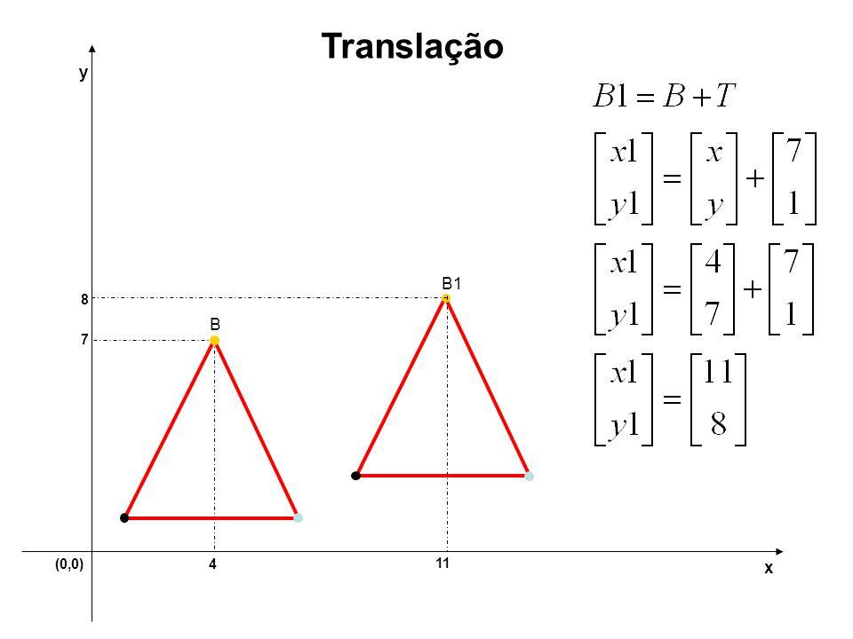 (0,0)4 7 y x Translação 11 8 B B1