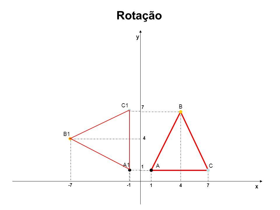 1 1 y x Rotação A A1 4 -7 B B1 4 7 C C1 7