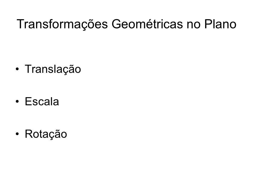 Transformações Geométricas no Plano Translação Escala Rotação