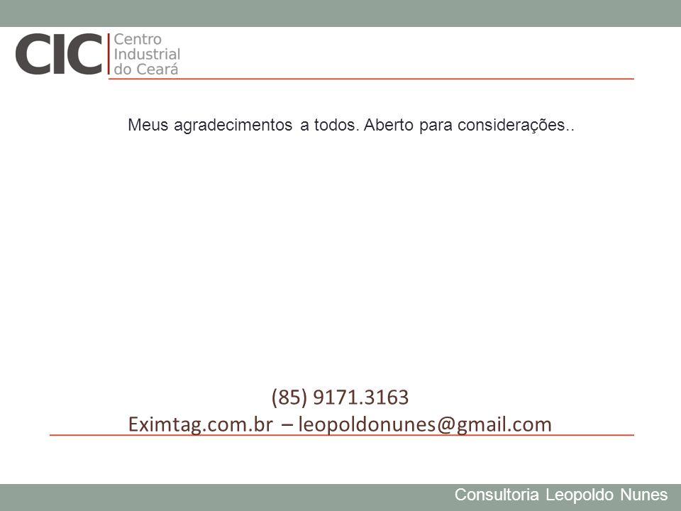 Consultoria Leopoldo Nunes (85) 9171.3163 Eximtag.com.br – leopoldonunes@gmail.com Meus agradecimentos a todos. Aberto para considerações..
