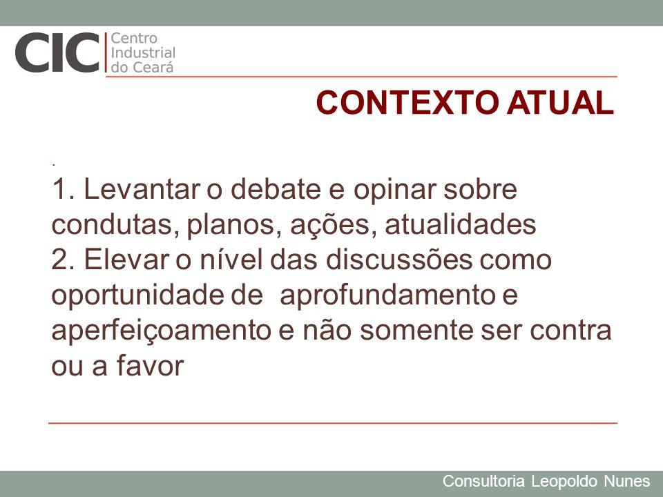 Consultoria Leopoldo Nunes CONTEXTO ATUAL. 1. Levantar o debate e opinar sobre condutas, planos, ações, atualidades 2. Elevar o nível das discussões c