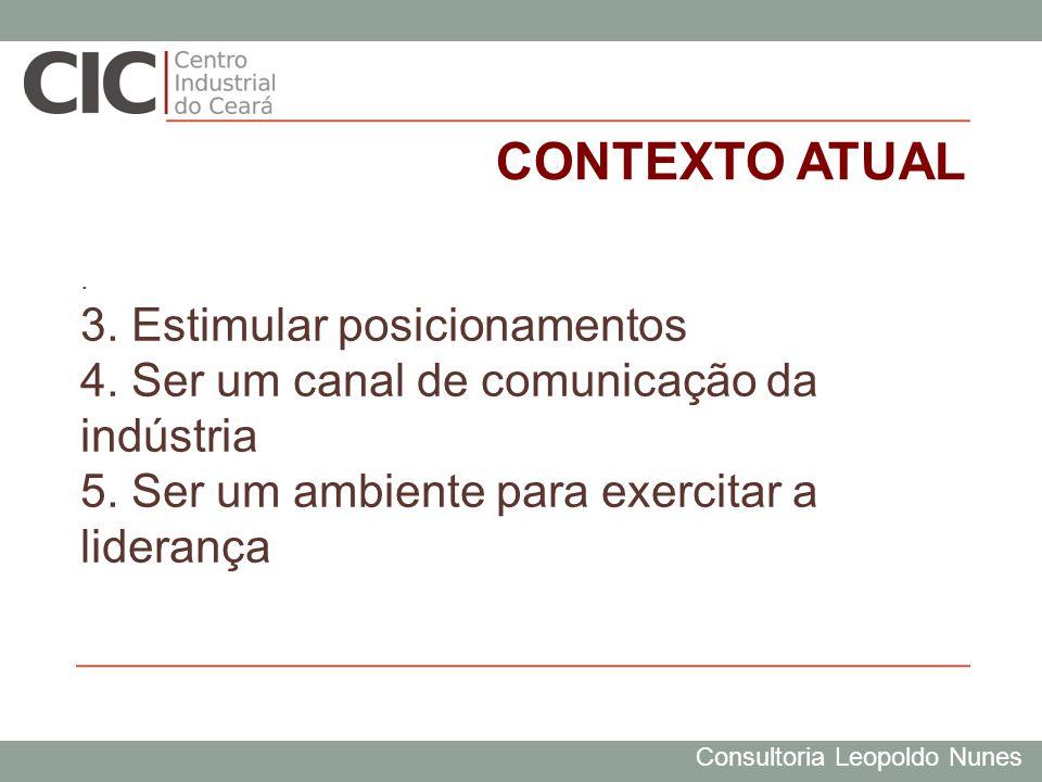 Consultoria Leopoldo Nunes. 3. Estimular posicionamentos 4. Ser um canal de comunicação da indústria 5. Ser um ambiente para exercitar a liderança CON