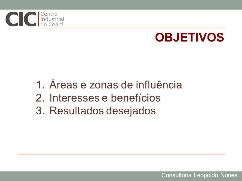 Consultoria Leopoldo Nunes OBJETIVOS 1.Áreas e zonas de influência 2.Interesses e benefícios 3.Resultados desejados