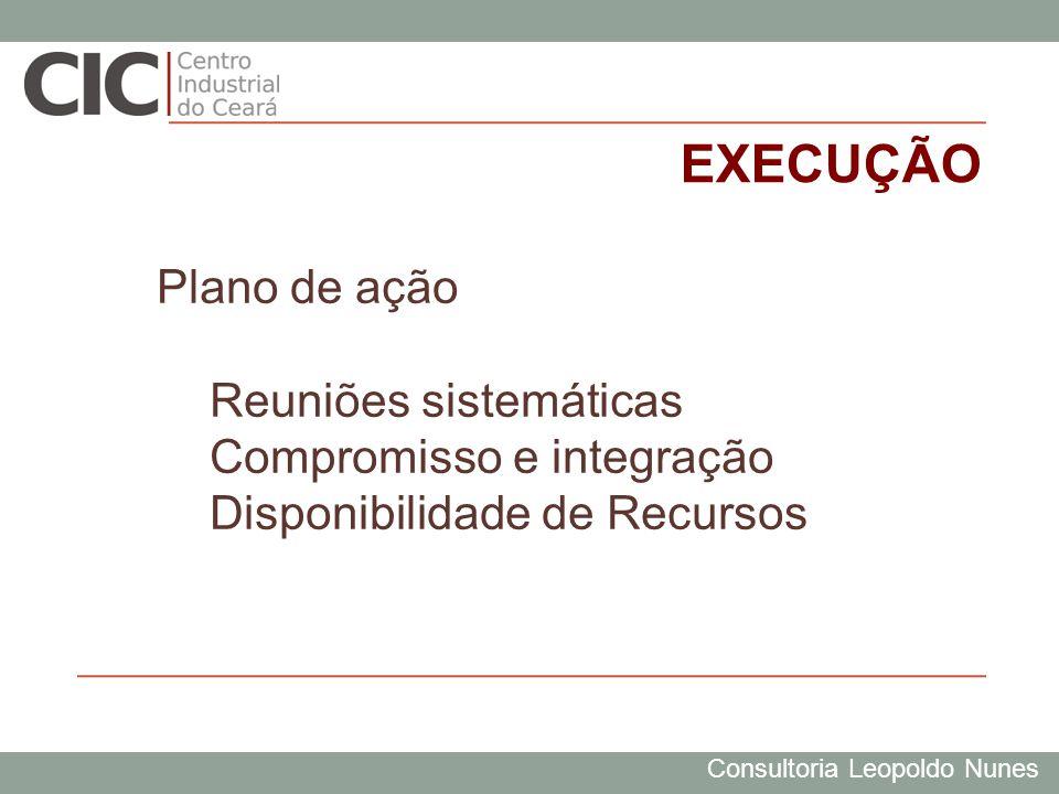 Consultoria Leopoldo Nunes EXECUÇÃO Plano de ação Reuniões sistemáticas Compromisso e integração Disponibilidade de Recursos