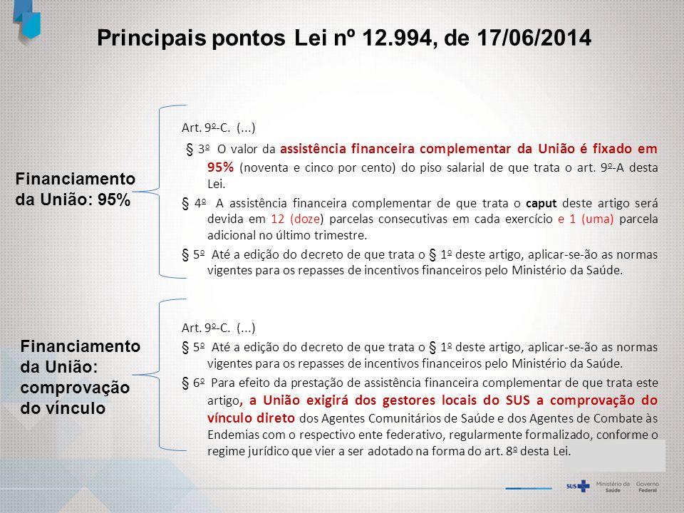 Financiamento da União: 95% Art.9 o -C.