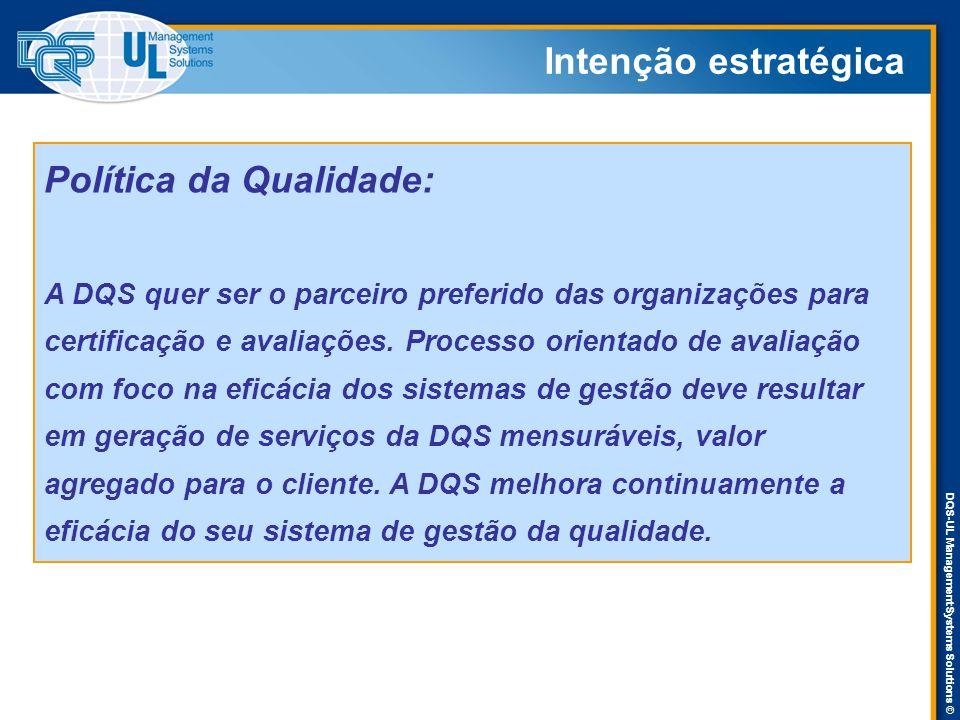 DQS-UL Management Systems Solutions © Intenção estratégica Política da Qualidade: A DQS quer ser o parceiro preferido das organizações para certificaç