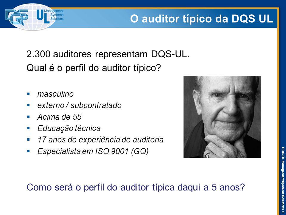 DQS-UL Management Systems Solutions © O auditor típico da DQS UL 2.300 auditores representam DQS-UL. Qual é o perfil do auditor típico?  masculino 