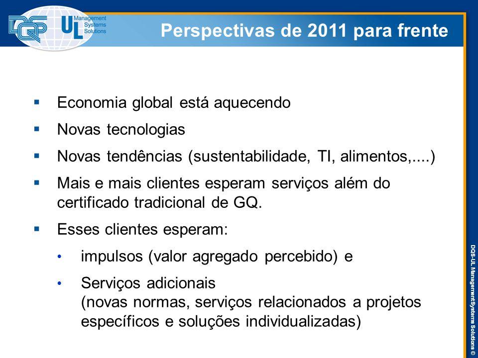 DQS-UL Management Systems Solutions © Perspectivas de 2011 para frente  Economia global está aquecendo  Novas tecnologias  Novas tendências (susten