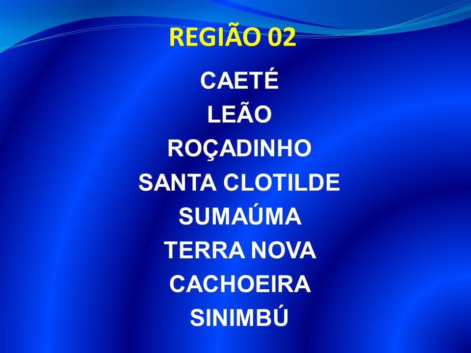 REGIÃO 02 CAETÉ LEÃO ROÇADINHO SANTA CLOTILDE SUMAÚMA TERRA NOVA CACHOEIRA SINIMBÚ