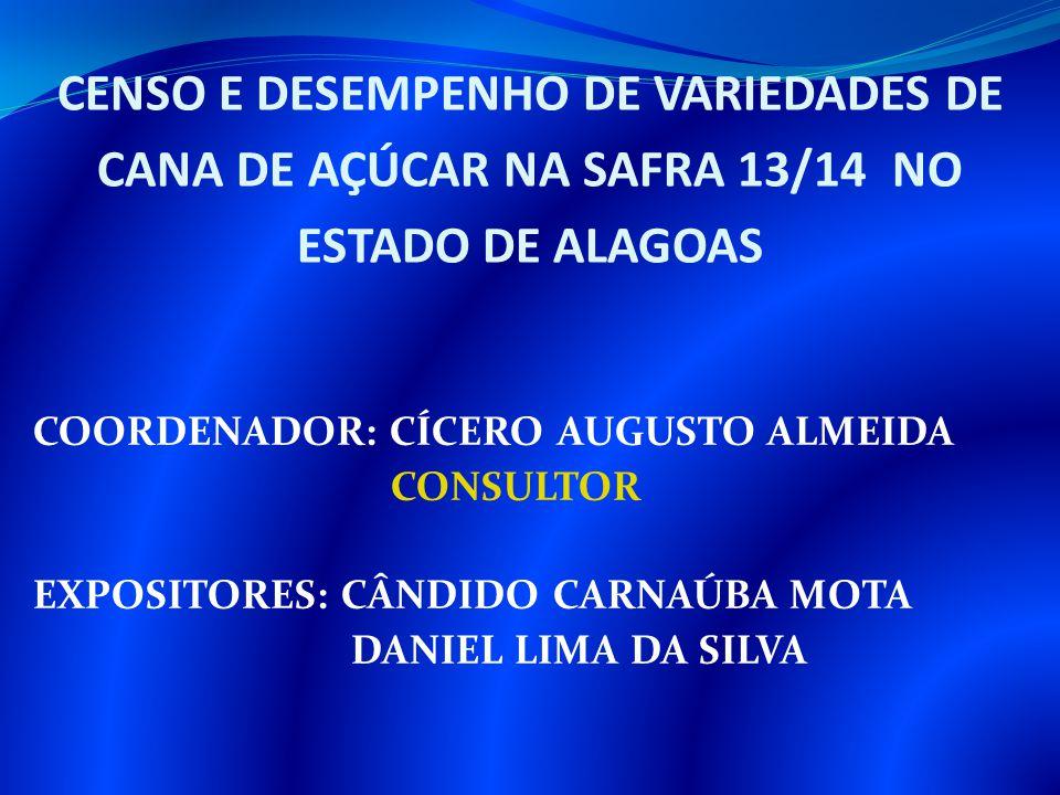 CENSO E DESEMPENHO DE VARIEDADES DE CANA DE AÇÚCAR NA SAFRA 13/14 NO ESTADO DE ALAGOAS COORDENADOR: CÍCERO AUGUSTO ALMEIDA CONSULTOR EXPOSITORES: CÂND