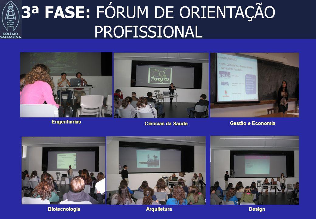 3ª FASE: FÓRUM DE ORIENTAÇÃO PROFISSIONAL Engenharias Gestão e Economia Arquitetura Ciências da Saúde Design Biotecnologia