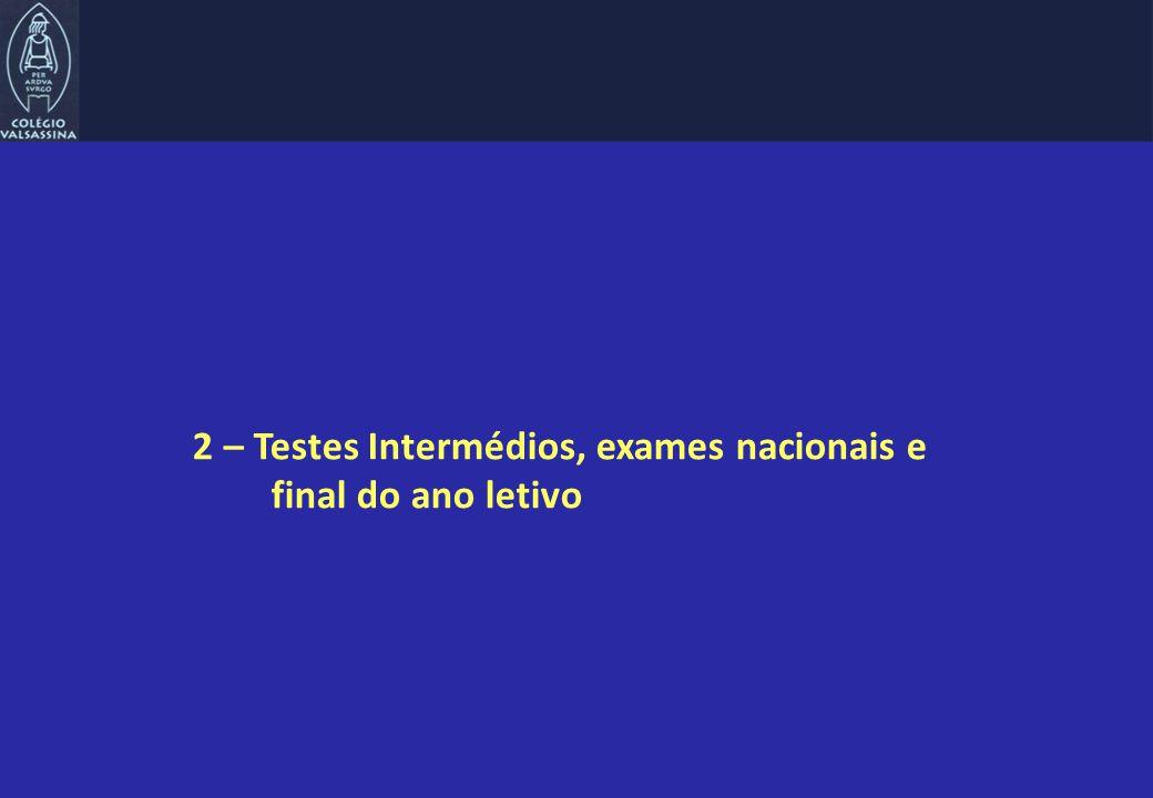 2 – Testes Intermédios, exames nacionais e final do ano letivo