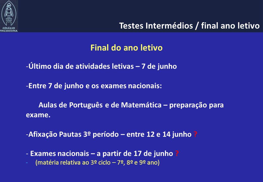 Final do ano letivo -Último dia de atividades letivas – 7 de junho -Entre 7 de junho e os exames nacionais: Aulas de Português e de Matemática – preparação para exame.