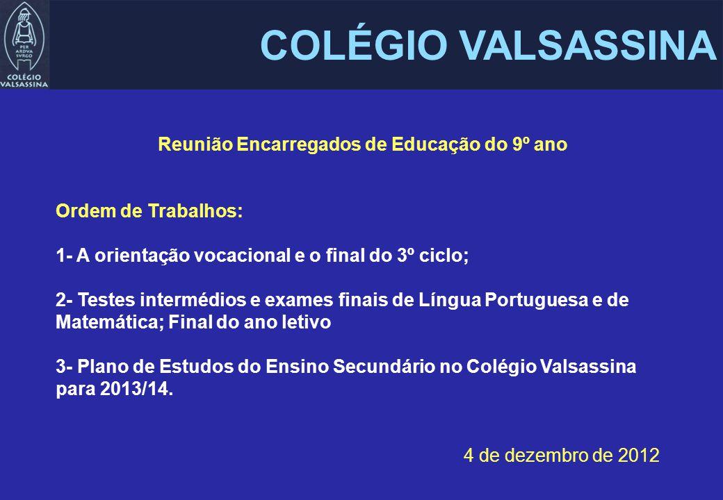Reunião Encarregados de Educação do 9º ano Ordem de Trabalhos: 1- A orientação vocacional e o final do 3º ciclo; 2- Testes intermédios e exames finais de Língua Portuguesa e de Matemática; Final do ano letivo 3- Plano de Estudos do Ensino Secundário no Colégio Valsassina para 2013/14.