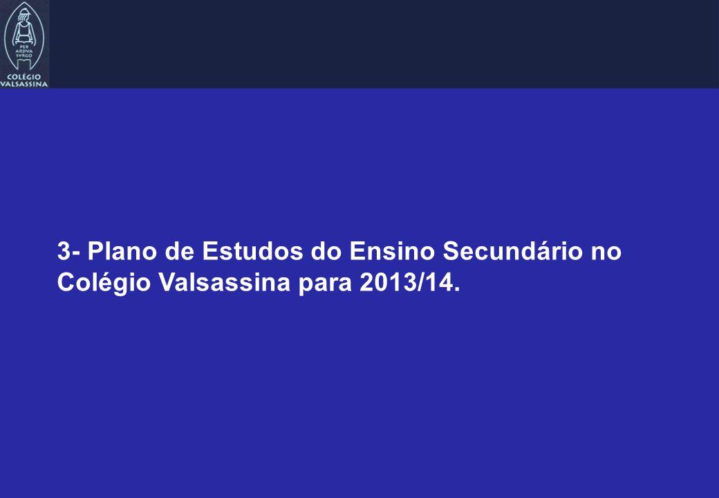 3- Plano de Estudos do Ensino Secundário no Colégio Valsassina para 2013/14.