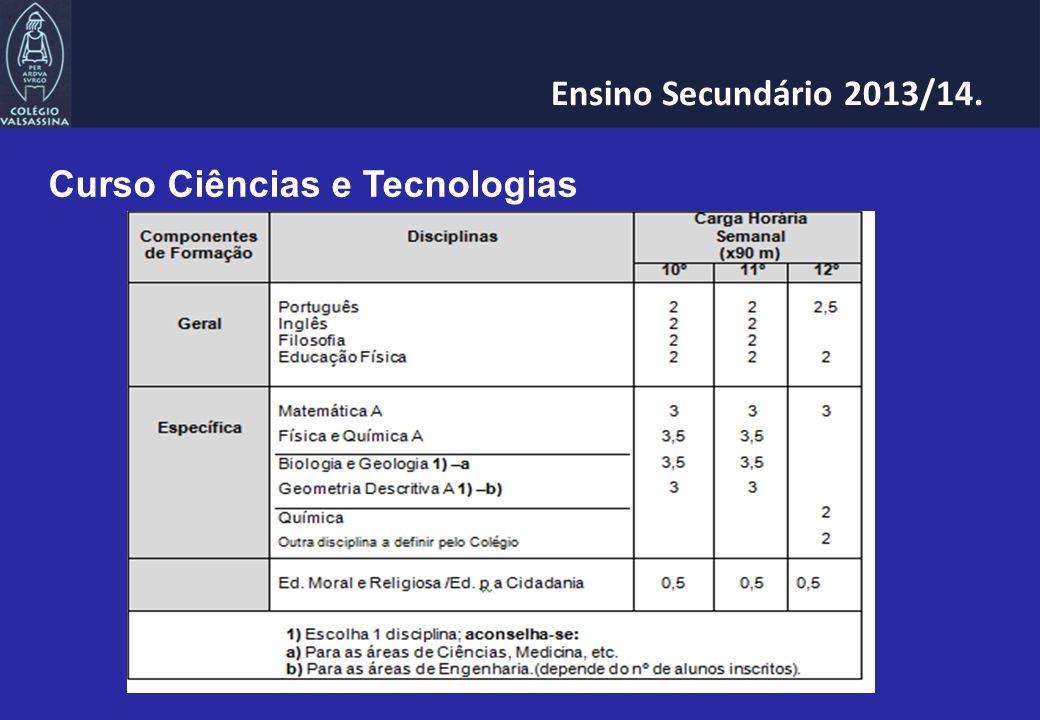 Curso Ciências e Tecnologias Ensino Secundário 2013/14.