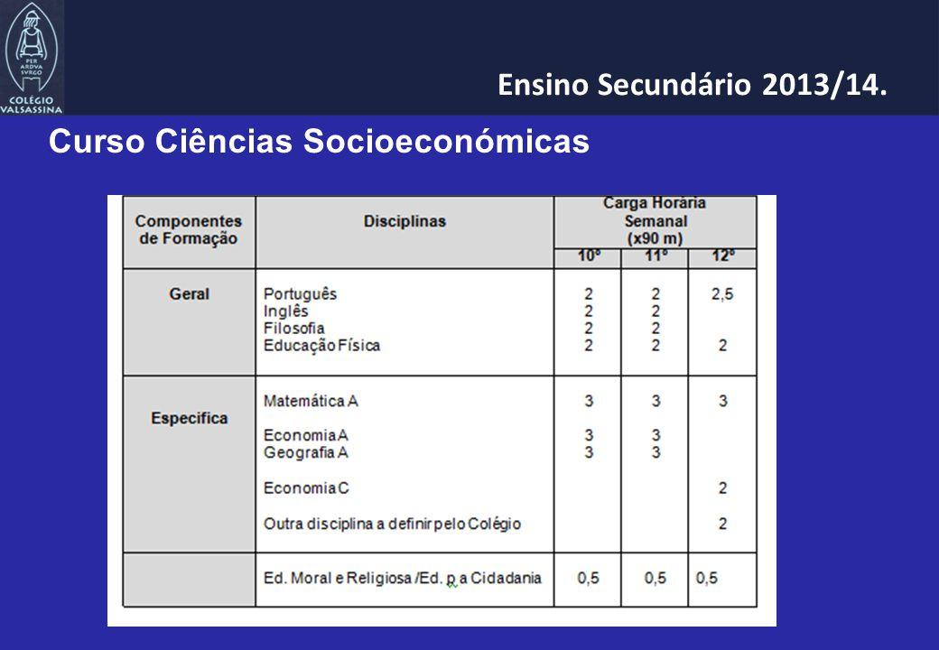 Curso Ciências Socioeconómicas Ensino Secundário 2013/14.