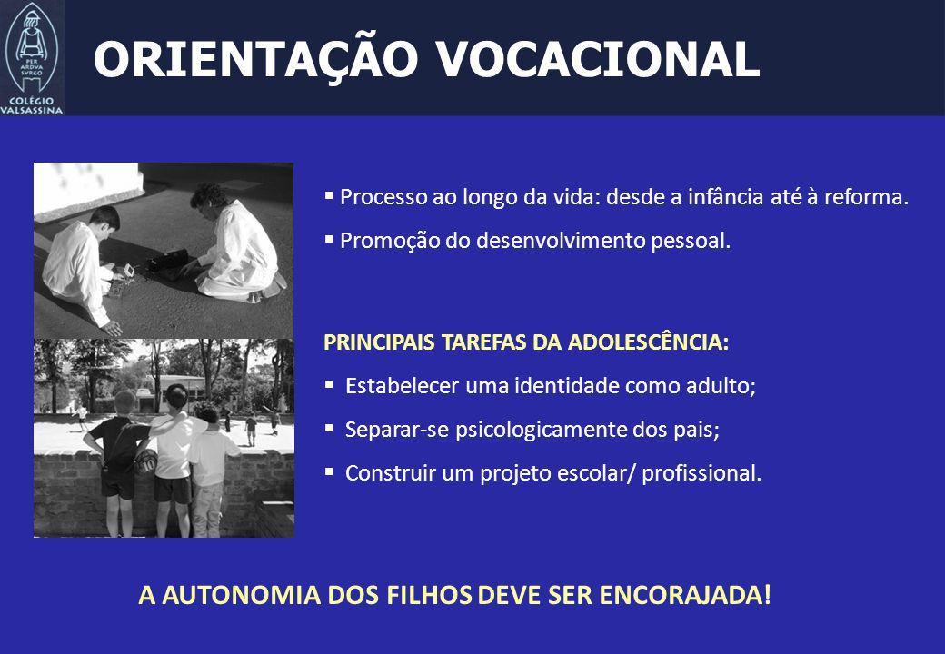 ORIENTAÇÃO VOCACIONAL  Processo ao longo da vida: desde a infância até à reforma.