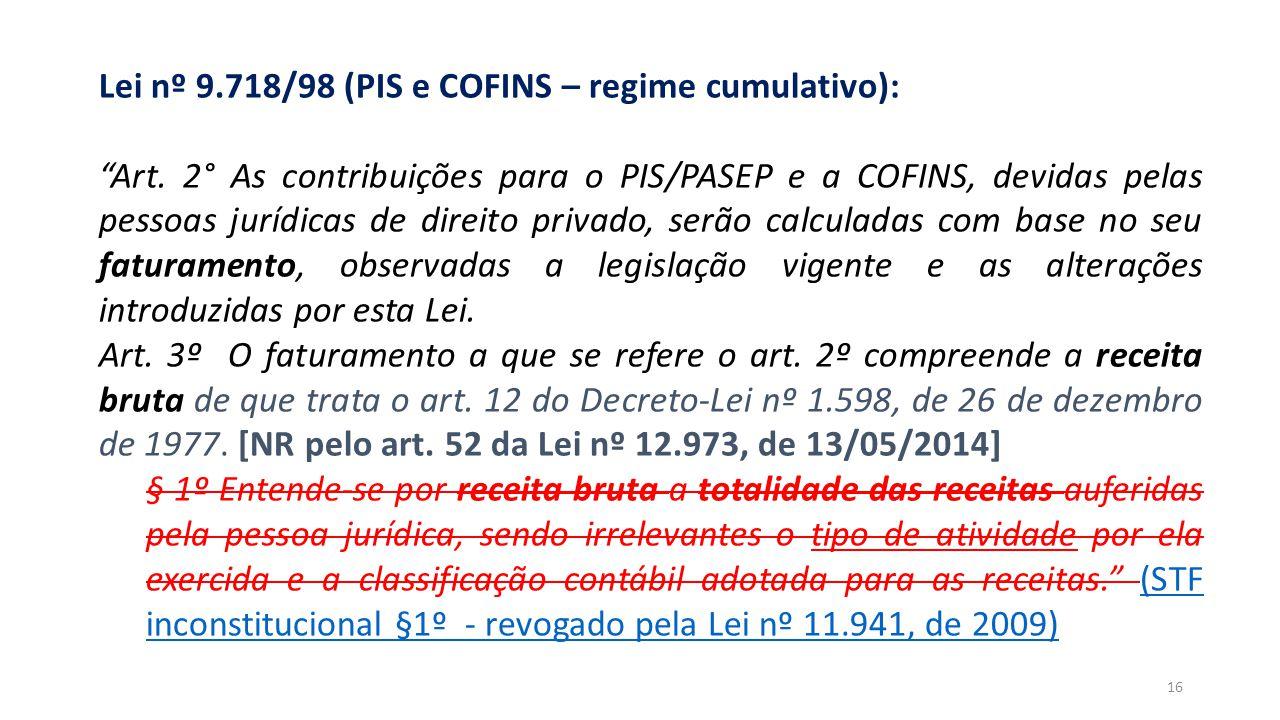 """""""RECEITA"""" e """"FATURAMENTO"""" – BC de contribuições Lei nº 9.718/98 (PIS e COFINS – regime cumulativo): """"Art. 2° As contribuições para o PIS/PASEP e a COF"""