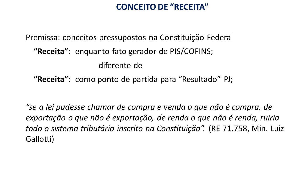 """""""RE CONCEITO DE """"RECEITA"""" FATURAMENTO"""" conceito pressuposto na CF Premissa: conceitos pressupostos na Constituição Federal """"Receita"""": enquanto fato ge"""