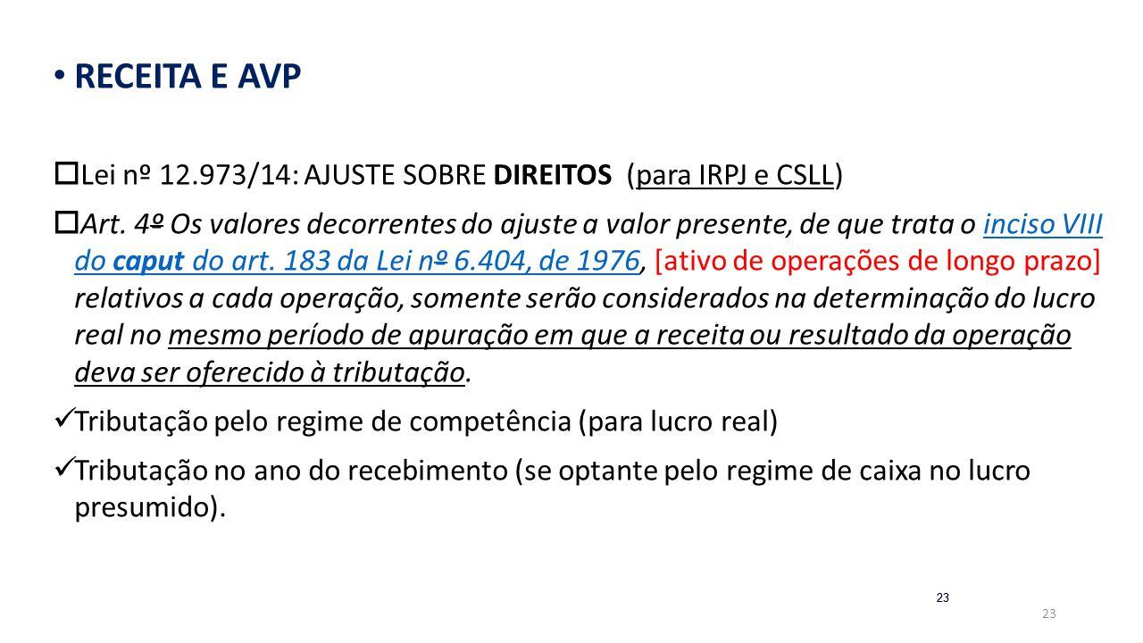 23 RECEITA E AVP  Lei nº 12.973/14: AJUSTE SOBRE DIREITOS (para IRPJ e CSLL)  Art. 4º Os valores decorrentes do ajuste a valor presente, de que trat
