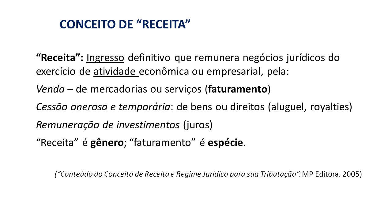 """RECEITA"": BASE DE CÁLCULO DE PIS/COFINS CONCEITO DE ""RECEITA"" ""Receita"": Ingresso definitivo que remunera negócios jurídicos do exercício de atividad"
