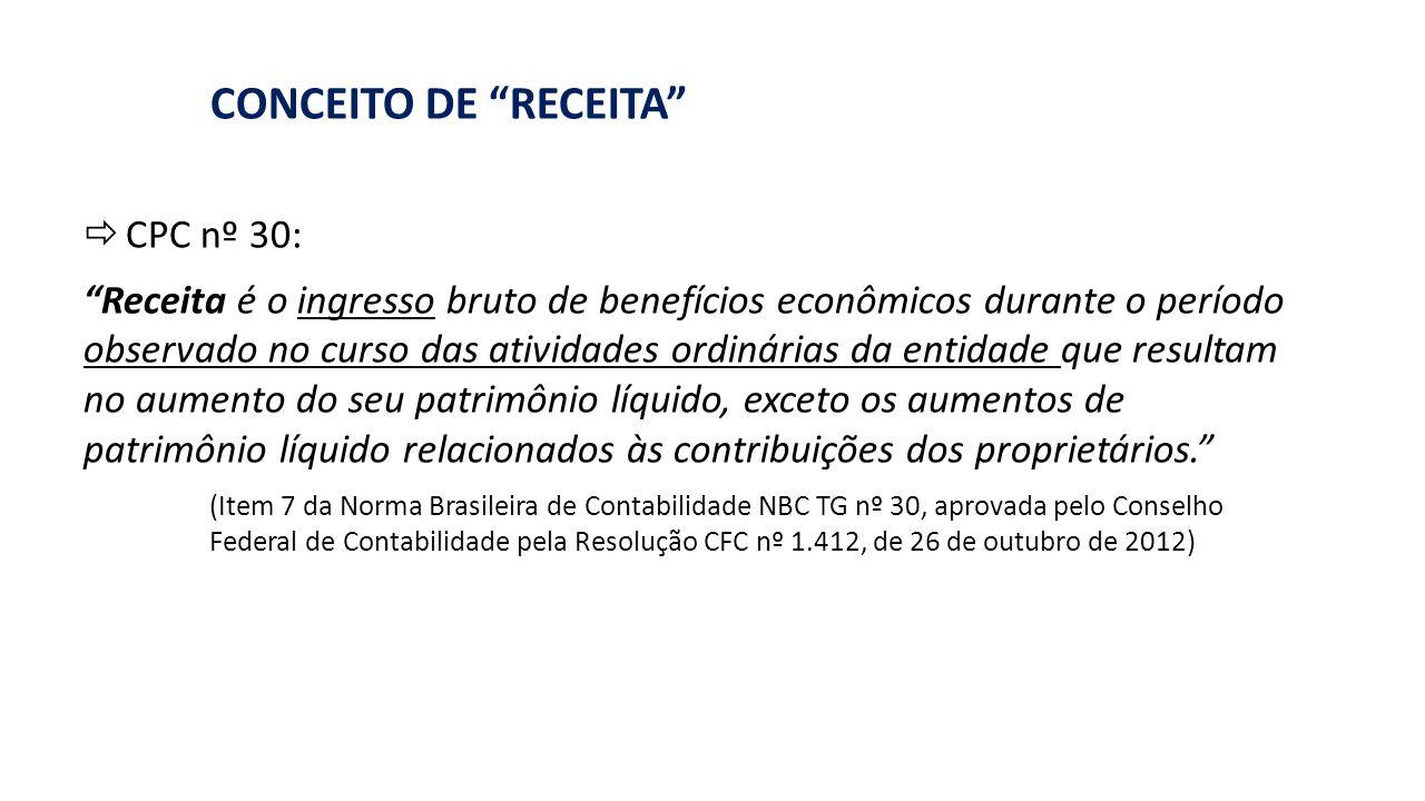 """""""RECEITA"""": LINGUAGEM DA CIÊNCIA CONTÁBIL CONCEITO DE """"RECEITA""""  CPC nº 30: """"Receita é o ingresso bruto de benefícios econômicos durante o período obs"""