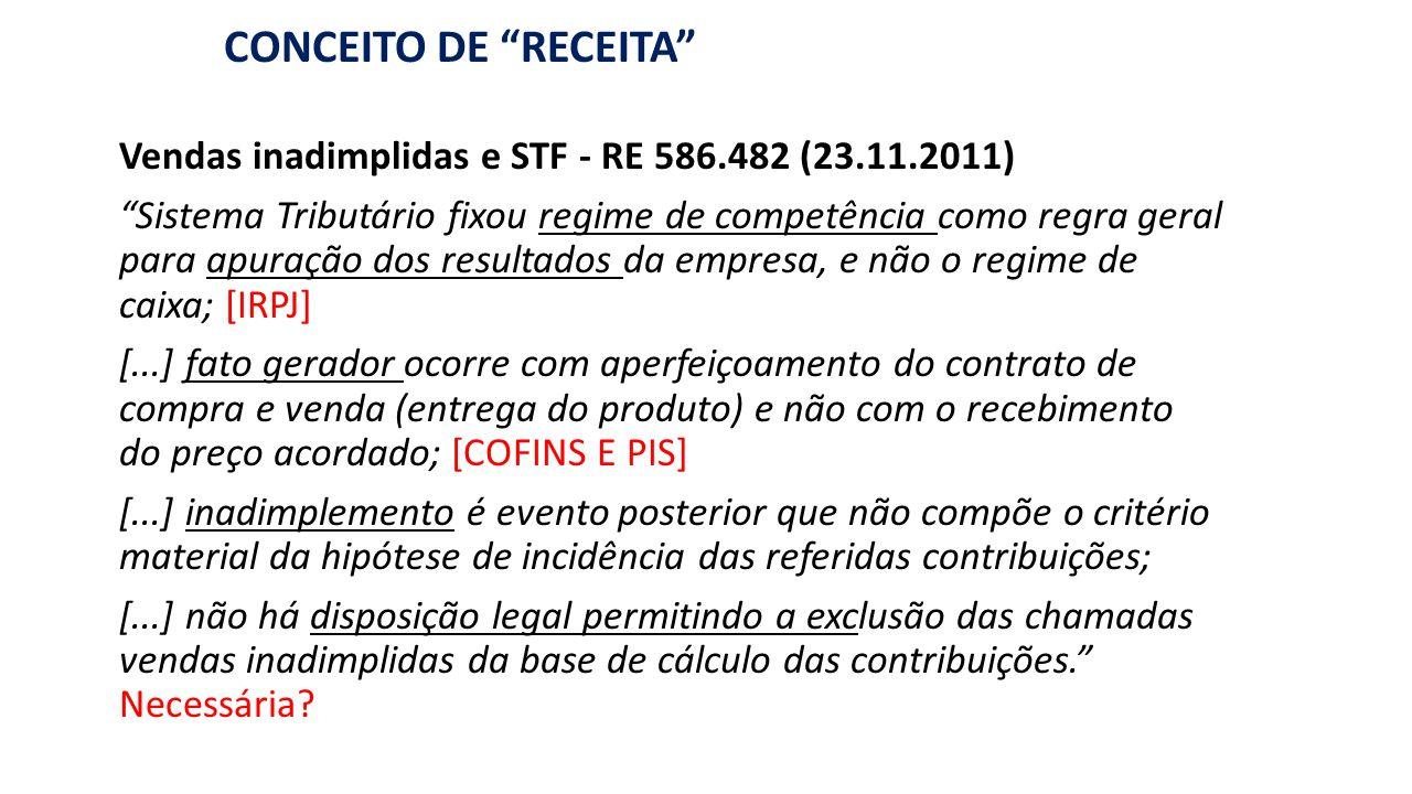 """""""RECEITA"""": BASE DE CÁLCULO DE PIS/COFINS CONCEITO DE """"RECEITA"""" Vendas inadimplidas e STF - RE 586.482 (23.11.2011) """"Sistema Tributário fixou regime de"""
