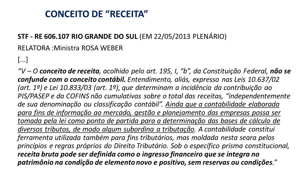 """APURAÇÃO da """"RECEITA"""" (para COFINS e PIS) CONCEITO DE """"RECEITA"""" STF - RE 606.107 RIO GRANDE DO SUL (EM 22/05/2013 PLENÁRIO) RELATORA :Ministra ROSA WE"""