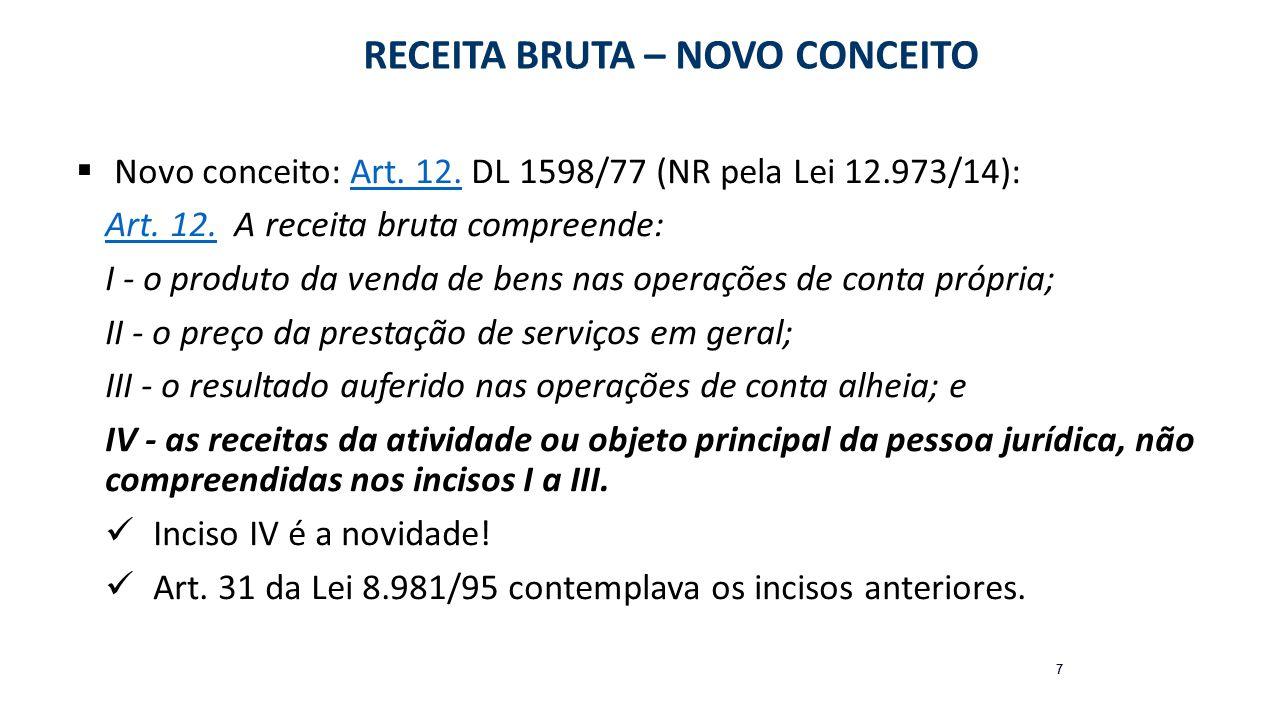 RECEITA e FATURAMENTO – BC de contribuições Lei nº 10.637/02 (PIS não cumulativo) – NR pelo art.