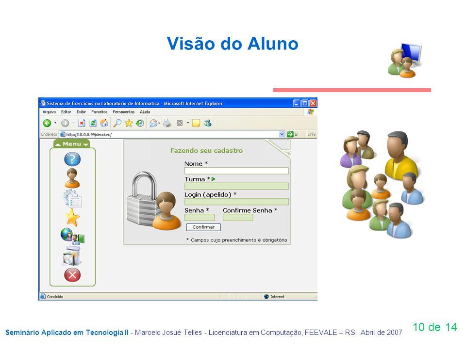 10 de 14 Visão do Aluno Seminário Aplicado em Tecnologia II - Marcelo Josué Telles - Licenciatura em Computação, FEEVALE – RS Abril de 2007