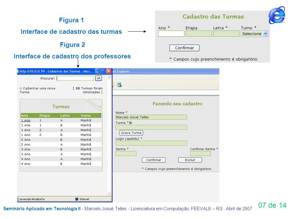 Figura 1 Interface de cadastro das turmas Figura 2 Interface de cadastro dos professores 07 de 14 Seminário Aplicado em Tecnologia II - Marcelo Josué Telles - Licenciatura em Computação, FEEVALE – RS Abril de 2007